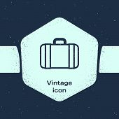 Grunge Line Suitcase For Travel Icon Isolated On Blue Background. Traveling Baggage Sign. Travel Lug poster