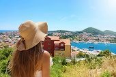 Europe Travel Woman Looking At Dubrovnik Town From Viewpoint, Croatia, Europe poster