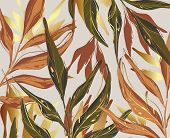 Modern Palm Leaves, Gold, Green, Orange Rust Foliage Template, Artistic Cover Design, Colorful Textu poster