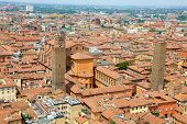 Bologna Aerial Cityscape View With Cathedral And Old Medieval City Center With Altabella And Uguzzon poster