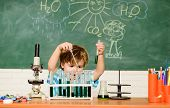 Boy Performing Chemistry Test. Wunderkind And Early Development. Small Pupil Learn Chemistry School. poster