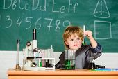Little Boy At Chemical Cabinet. Kid In Lab Coat Learning Chemistry Experimenting With Chemicals Chem poster