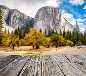 Yosemite National Park Valley at cloudy autumn morning. Low clouds lay in the valley. California, US poster