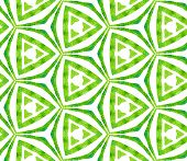 Green Kaleidoscope Seamless Pattern. Hand Drawn Watercolor Ornament. Popular Repeating Tile. Powerfu poster
