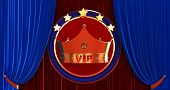 3d Rendering Of Golden Vip Withe Crown, Royal Gold Vip Crown On A Red And Bleu Curtain Silk Backgrou poster