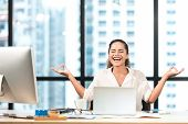 Relax Time.  Successful Smilling Business Woman Relaxing And  Meditating After Working In Modern Off poster