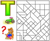 Educational Page With Letter T For Study English Letters. Logic Puzzle. Find And Paint 5 Letters T.  poster