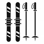 Ski Equipment Icon. Simple Illustration Of Ski Equipment Vector Icon For Web Design Isolated On Whit poster