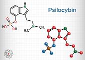 Psilocybin Alkaloid Molecule. It Is Naturally Psychedelic Prodrug. Structural Chemical Formula And M poster
