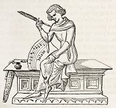 image of scribes  - 15th century scribe old illustration - JPG