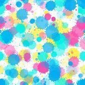 Graffiti Spray Transparent Stains Vector Seamless Wallpaper Pattern. Trendy Ink Splatter, Spray Blot poster