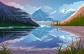 Beautiful Nature, Natural Landscape. Evening Mountain Scenery poster