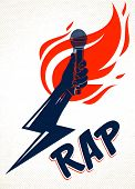 Rap Music Vector Logo Or Emblem With Microphone In Hand Flames And Lightning Bolt, Hot Hip Hop Rhyme poster