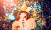 Autumn Queen. Fall Season Outfit. Modern Fashion Outfit. Autumn Season. Gorgeous Pretty Woman In Fur poster