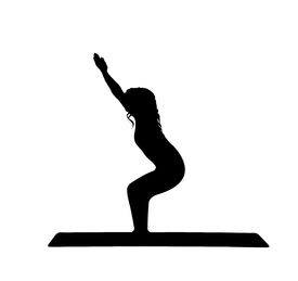 picture of workout-women  - Yoga silhouette of a beautiful young women against a white background - JPG