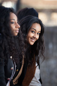 pic of teenage girl  - Outdoor Portrait of happy young african american teenage girls - JPG
