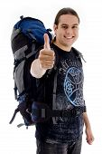 Traveler With Rucksack With Thumbs Up poster