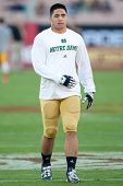 LOS ANGELES - 24 de novembro: Manti Te'o #5 da Notre Dame Fighting irlandês antes o NCAA Football g