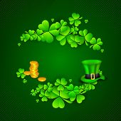 Irish four leaf lucky clovers, golden coins and leprechaun hat background for Happy St. Patrick's Da