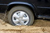 stock photo of skid  - the car went into a skid close up - JPG