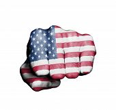 stock photo of revolt  - Front view of punching fist banner of the USA - JPG
