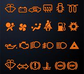 stock photo of oil can  - Set of simple illuminated car dashboard icons - JPG