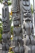 picture of tiki  - Tiki statues carved from wood by Native Hawaiians at Puuhonua O Honaunau Place of Refuge historical park on the big island of Hawaii - JPG