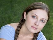 stock photo of brown-haired  - braids girl - JPG
