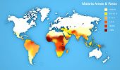 Malaria disease spread map. Areas and risks