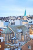 picture of tromso  - Aerial view of Tromso Cathedral Church in Troms Norway at dusk twilight - JPG