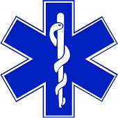 stock photo of emergency treatment  - Vector illustration of the Star of Life EMT Symbol - JPG