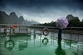 Boat Deck, Umbrella And Li River.
