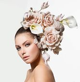 pic of lillies  - Fashion Beauty Model Woman with Flowers Hair - JPG