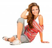 foto of teenagers  - Teenage Girl sitting and Smiling - JPG