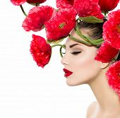 stock photo of woman glamorous  - Beauty Fashion Model Woman with Red Poppy Flowers in her Hair - JPG