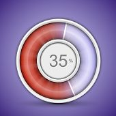 Radial or circular progress bar. Customizable vector illustration of radial progress bar on backgrou