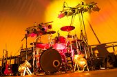 stock photo of drums  - rock band stage set - JPG