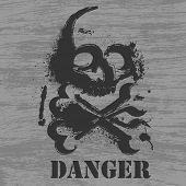 stock photo of skull crossbones flag  - Skull with ink blots on grunge background - JPG
