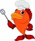 Cute fish chef cartoon holding spatula