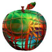 Постер, плакат: Ярко зеленое яблоко Гала в искаженной витраж дизайн