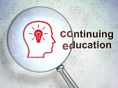 Education concept: Head Whis Lightbulb and Continuing Education
