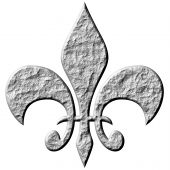 picture of fleur de lis  - 3d stone fleur de lis isolated in white - JPG