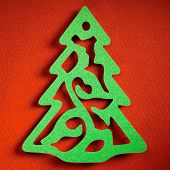 Christmas tree paper cutting design card, papercraft theme