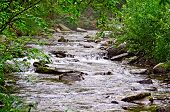 foto of ural mountains  - Stormy mountain river Zhigalan on the ridge Kvarkush on the north of the Ural Mountains - JPG