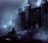 stock photo of medieval  - Foggy night castle with a horseman riding - JPG