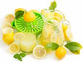 Homemade Lemon Juice With Fresh Fruits