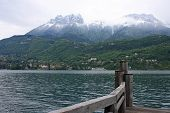 pic of annecy  - cloudy day at Lake Annecy in the Alps - JPG