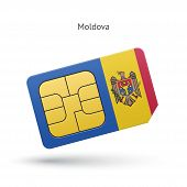 Moldova mobile phone sim card with flag.