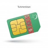 foto of turkmenistan  - Turkmenistan mobile phone sim card with flag - JPG