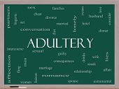 stock photo of adultery  - Adultery Word Cloud Concept on a Blackboard with great terms such as sexual affair lies and more - JPG